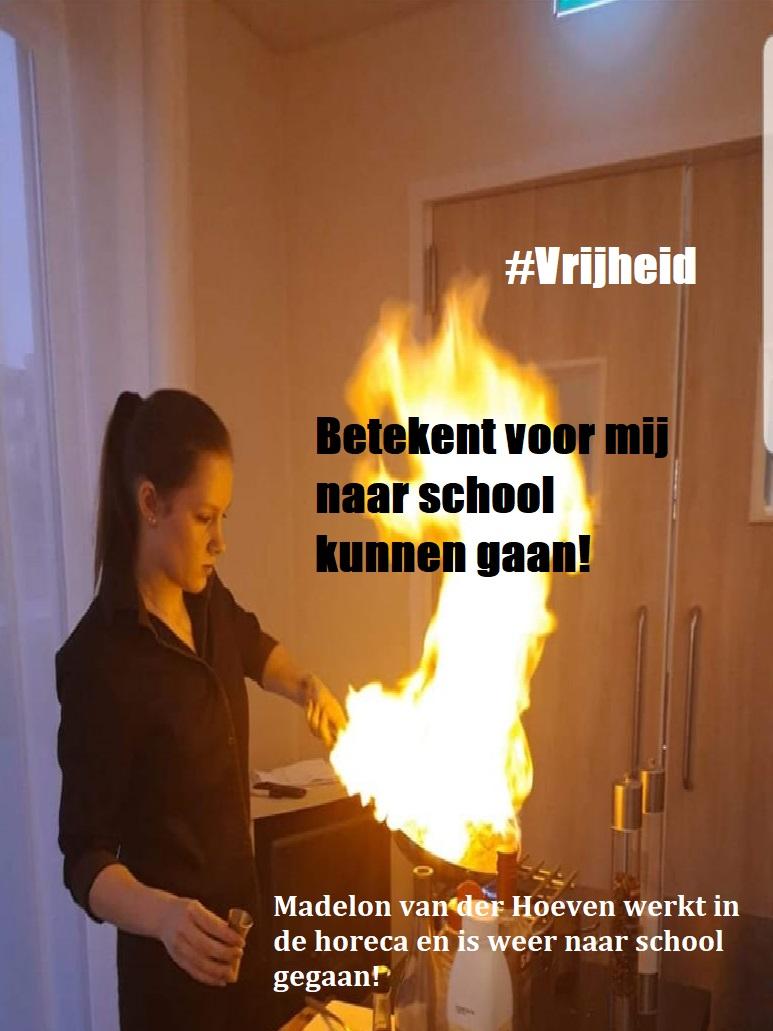 Madelon van der heveb, werkzaam horeca en naar school, internationale vrouwendag 08 maart 2020 vrijheid