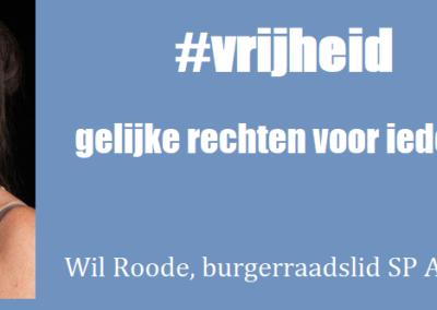 Wil Roode burgerraadslid SP Amstelveen fotocampagne Internationale Vrouwendag Wat is jouw Vrijheid 8 maart 2020 1